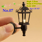 1/12 or 1/6 scale dollhouse miniature sconce black wall lamp led light